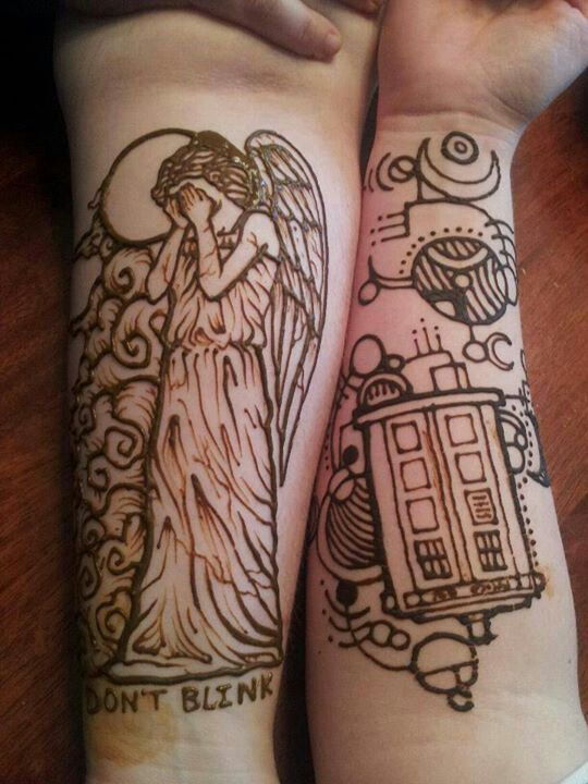 Weeping Angel TattooTattoo Ideas, Henna Art, Henna Tattoos, Doctorwho, Doctors Who, Tardis, Dr. Who, Weeping Angels, Ink