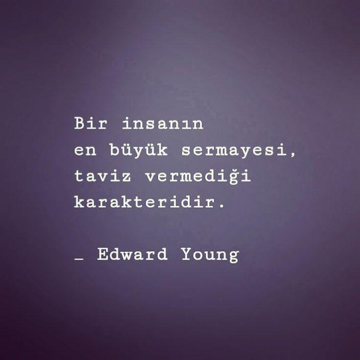 Bir insanın en büyük sermayesi, taviz vermediği karakteridir. - Edward Young #sözler #anlamlısözler #güzelsözler #manalısözler #özlüsözler #alıntı #alıntılar #alıntıdır #alıntısözler #şiir #edebiyat