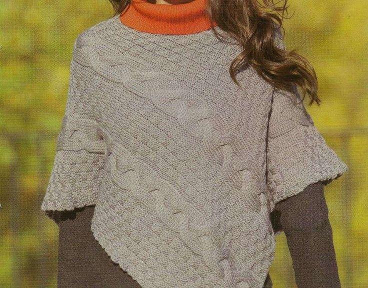 Cosa ne pensate del poncho che vedete in fotografia? In questo lavoro a maglia abbiamo utilizzato 3 diversi punti fantasia: seguite le spiegazioni passo a passo e sarà un gioco da ragazze.