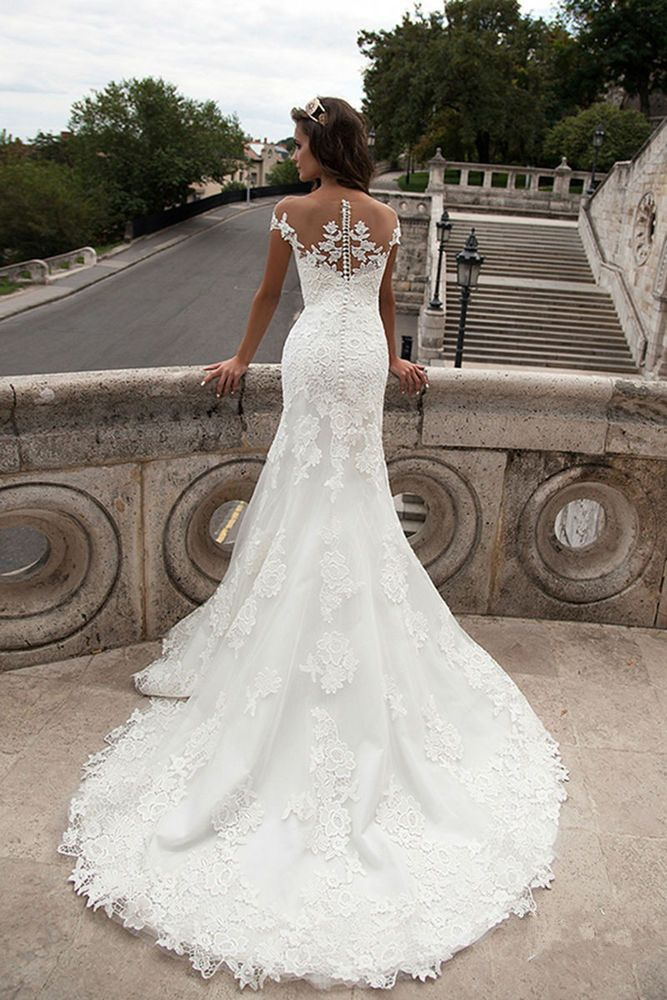 Details about Sheer Neck Slim Lace Bridal Wedding Dress Gown