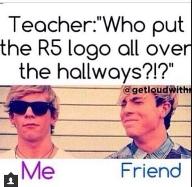 My sister did this in high school, but she just printed a whole bunch of pictures of R5 and the logo and threw them all over the hallway and slid them under doors and stuff like Regina George did on Mean Girls!!! It was hilarious, but she got suspended for like a week cuz she's the only R5er at her school!!!!!!!