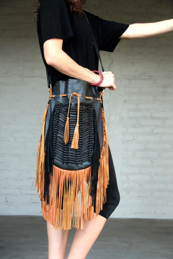 Fringe leather bag boho leather purse black with tan by etnikabali