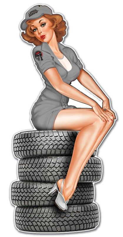 Retro Plasma Tire Babe Metal Sign 12 x 24 Inches - Vintage and Retro Tin Signs - JackandFriends.com