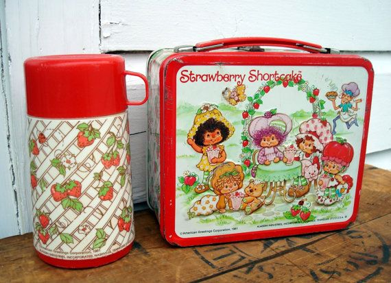 Vintage Lunchbox - Strawberry Shortcake - with Thermos - Metal Retro Cartoon Lunch Box