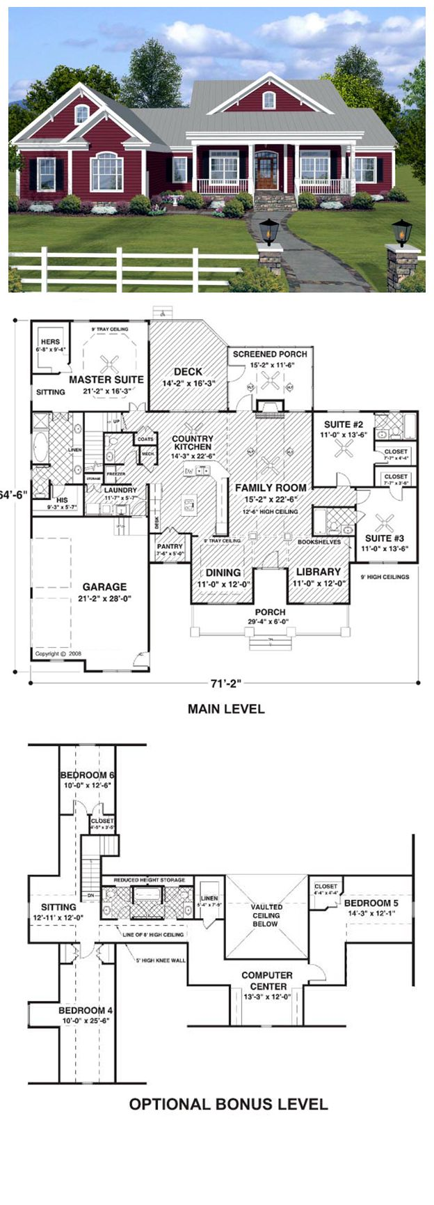 "House Plan 74834 | Total living area: 2294 sq ft, 3 bedrooms & 3.5 bathrooms. Welcome home to this delightful country ""ranch"" offering both beauty and an array of superb features."