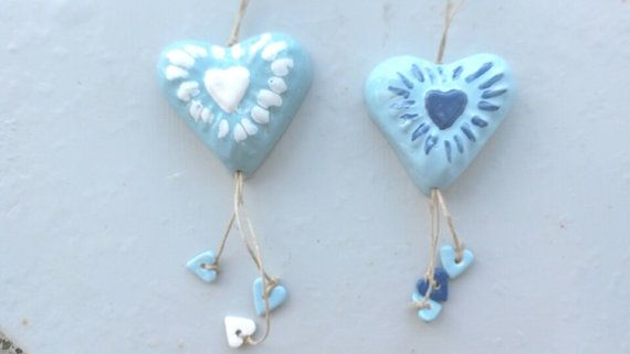 Rustic Romantic Handmade Aqua Blue and White by WillyaCollection