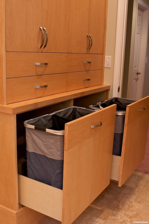 """Permanent """"donate"""" container in closet. Try something on, realize you never want to wear it again, toss in and forget about it.-----That or dirty laundry :o)"""