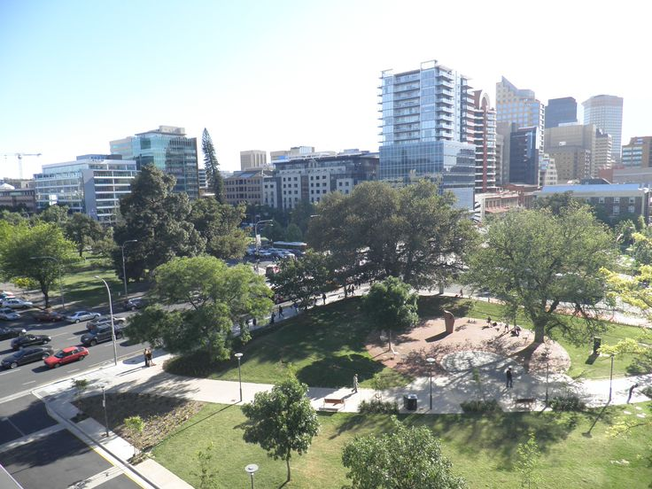 Looking over Hindmarsh Square, Adelaide from 502 - our City Delight apartment.