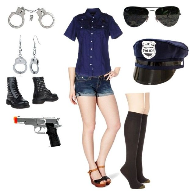 """cop halloween costume"" by vsbaker ❤ liked on Polyvore featuring Gold Toe, Blauer, Ray-Ban, BERRICLE and 883 Police"