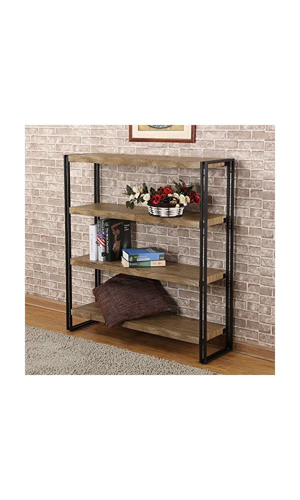 Fivegiven 4 Tier Bookshelf Rustic Wood And Metal Sonoma Oak From