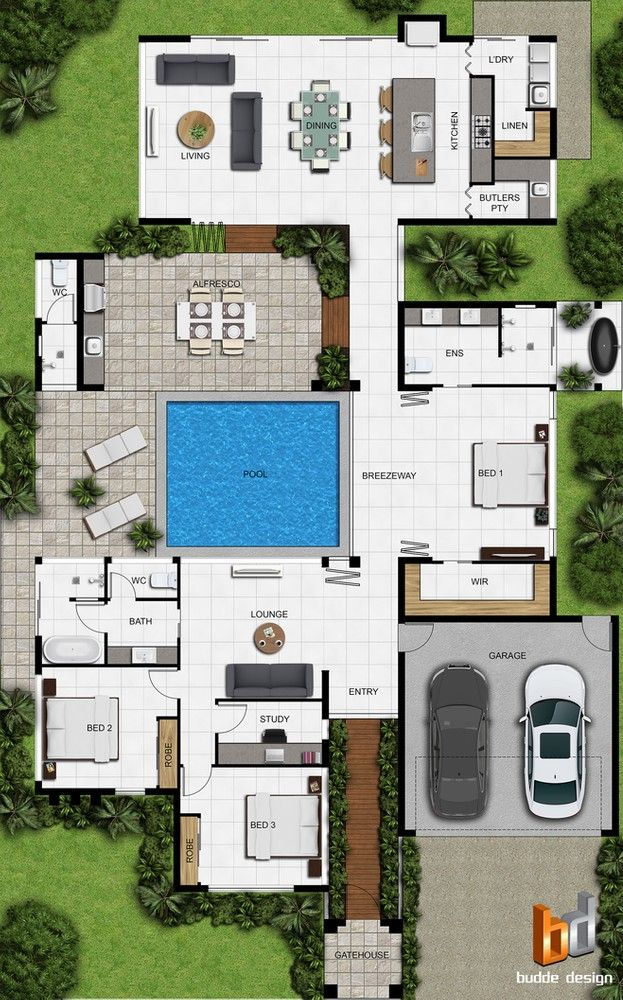 2d Colour Floor Plan For A Building Company Palm Cove Qld In 2020 Pool House Plans Sims House Plans House Construction Plan