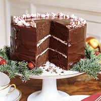 This rich, three-layer chocolate cake has a festive cream cheese and peppermint candy filler.