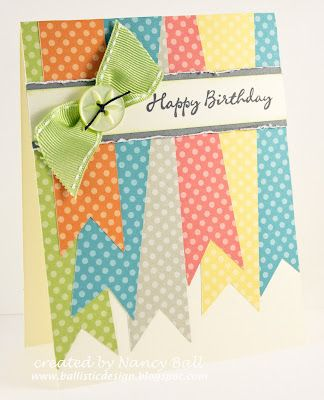 """Use colorful paper to make """"ribbons"""" for this cute handmade birthday card - and one real ribbon!"""