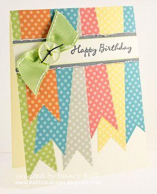 Super cute, Dotty for you banner card.Handmade Birthday Cards, Birthday Scrapbook Ideas, Polka Dots, Birthday Banners, Nancy'S Crafty, Nancy Crafty, Happy Birthday Cards, Washi Tape, Crafty Blog