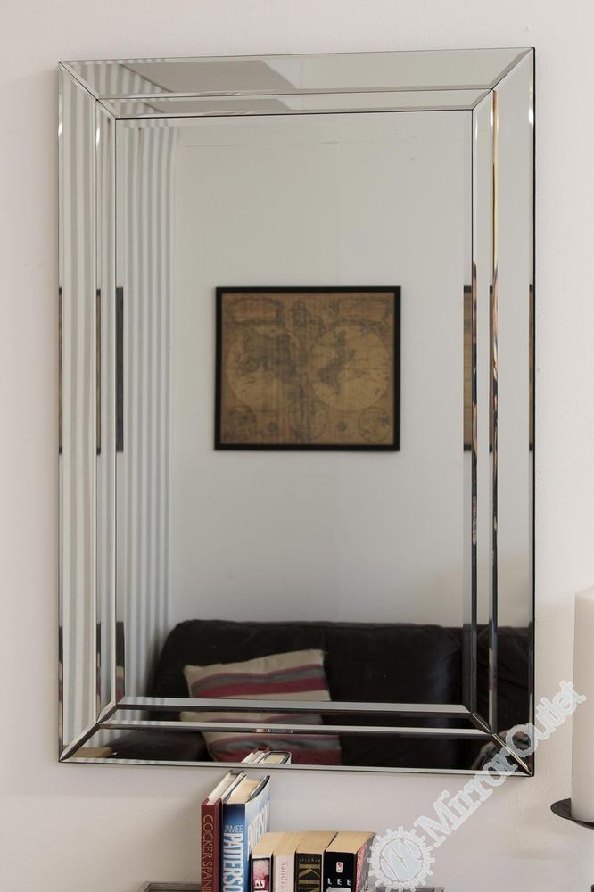 Large Modern Venetian All Glass Double Edged Wall Mirror 2Ft X 3Ft 60cm 90cm
