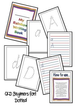 rainbow writing handwriting practice qld beginners font dotted fonts and writing. Black Bedroom Furniture Sets. Home Design Ideas