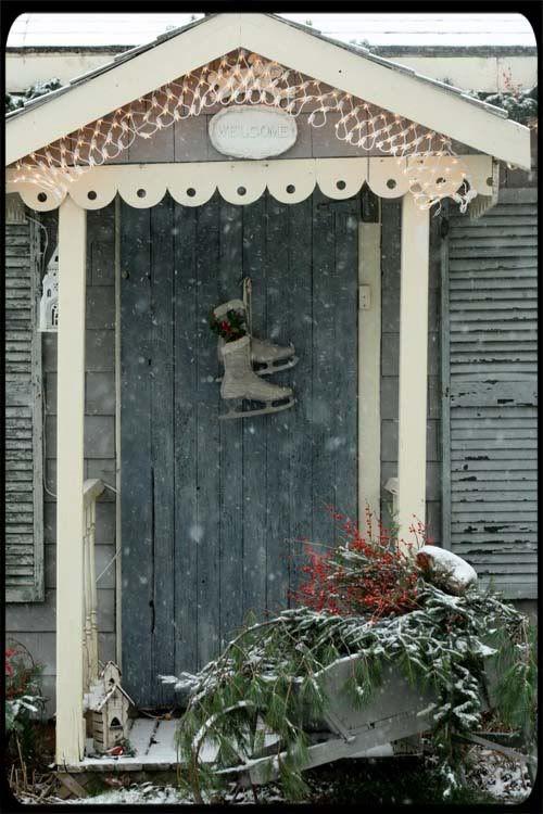 ice skates on front door
