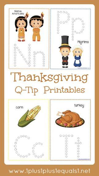 Thanksgiving Q-Tip Printables free from @{1plus1plus1} Carisa
