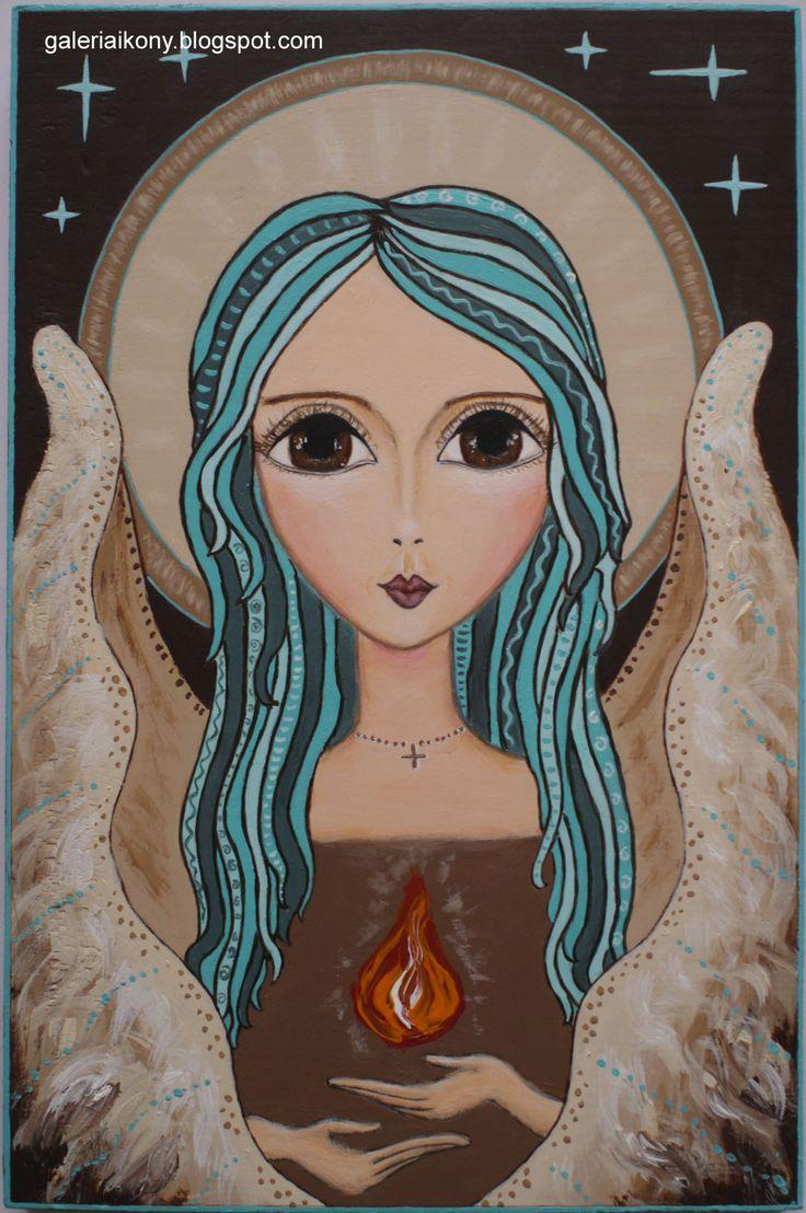 Angel Guardian with light. Acrylic on wooden board . Żukowska