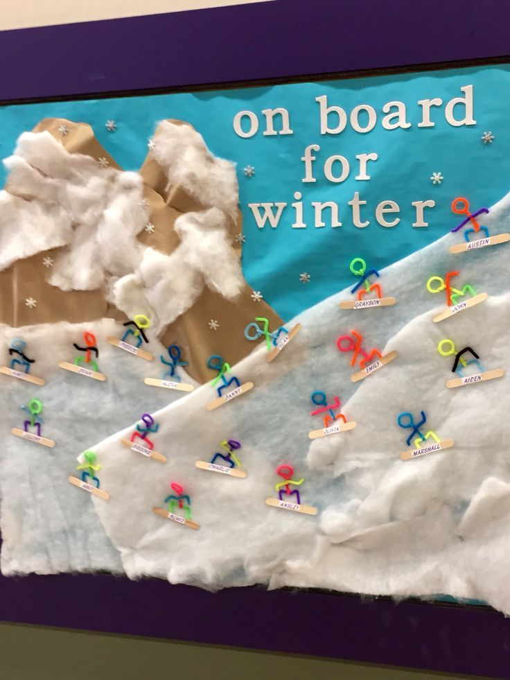 Snowboard themed bulletin board for Winter
