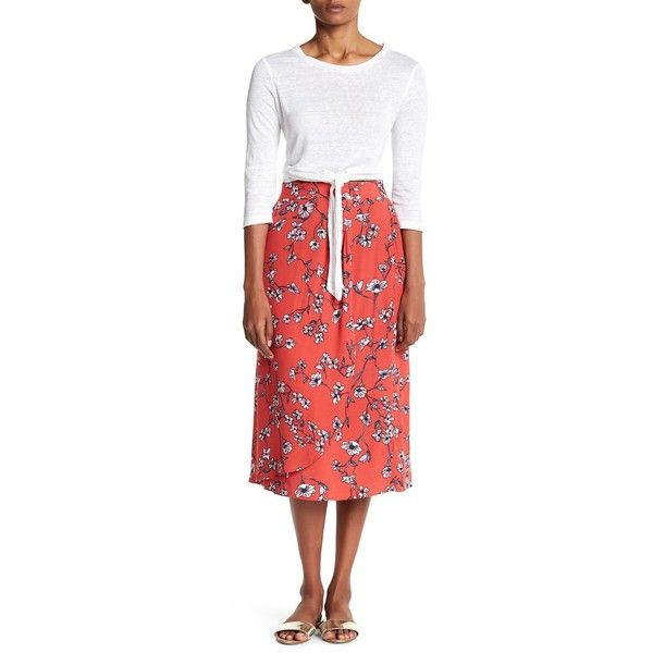 cupcakes and cashmere Destin Floral Wrap Skirt ($47) ❤ liked on Polyvore featuring skirts, cranberry, red floral skirt, cupcakes and cashmere, elastic waist skirt, wrap skirt and red wrap skirt