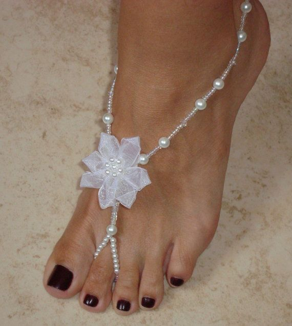 Barefoot Sandals - Crystal Glass Pearls & Swarovski Crystals