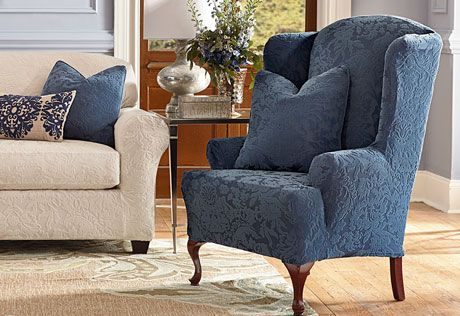 Sure Fit Slipcovers Stretch Jacquard Damask Wing Chair