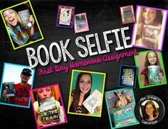 "Have students search the library catalog for a favorite book/author and take a ""Book Selfie"" - It will not only help you get to know your students' names, but will offer an opportunity for peers to recommend their favorite books to their classmates in a format they love: selfies!"