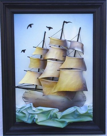 Blue Mateusz Leather Ship www.makmarketplace.com Nautical Genuine Leather Art…