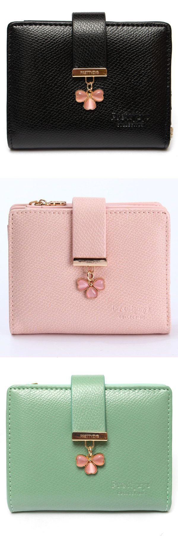 Wallets At Kohl 8217 S Candy Color Lucky Clover Diamond Women Short Purse Wallet