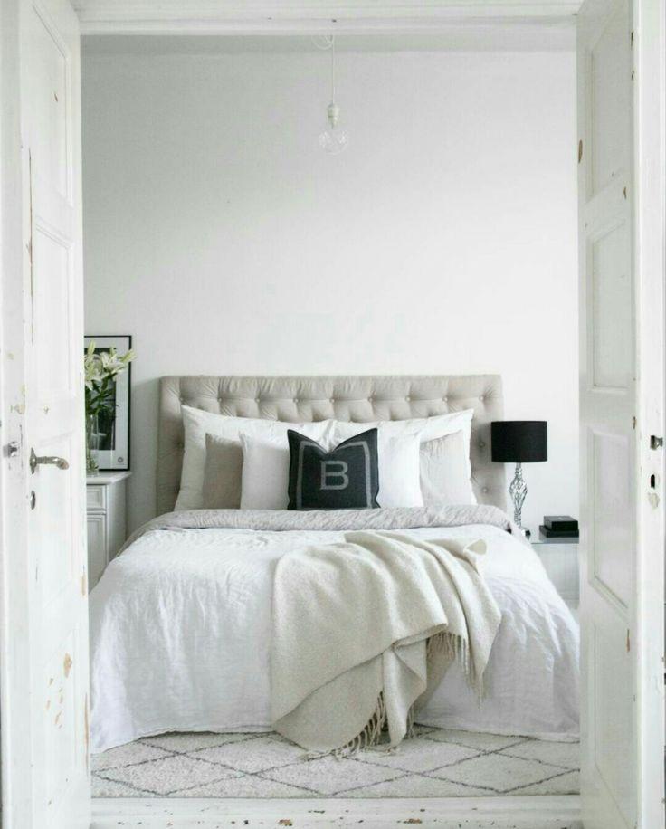 White bedroom,  balmuir, diy headboard,  White Interior, linen