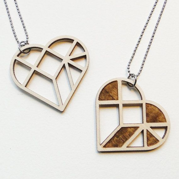Tangram heart necklace ~ Laser cut from birch wood ~ Geometric pendant ~ Gift boxed    This geometric tangram necklace is laser cut from naturel birch