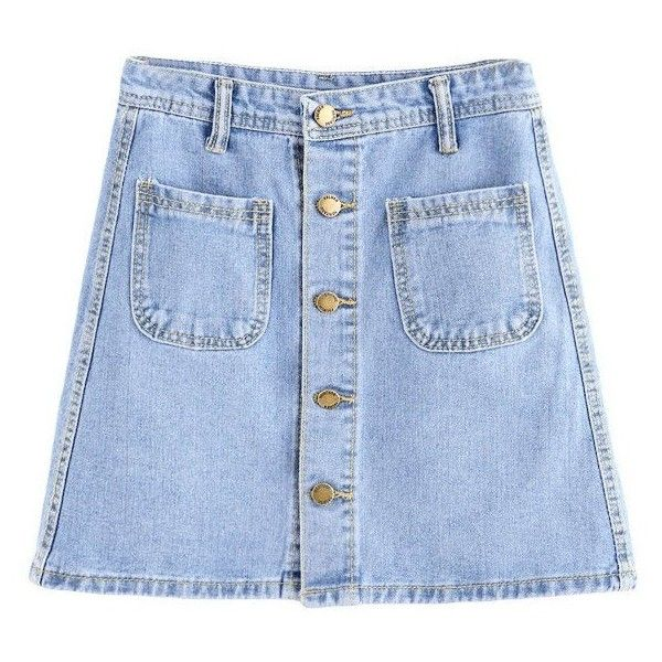 DOTFASHION CASUAL DENIM SKIRT SOLID BLUE BUTTON FRONT DUAL POCKET... ($22) ❤ liked on Polyvore featuring skirts, mini skirts, blue a line skirt, a line mini skirt, blue mini skirt, denim skirt and a-line skirts