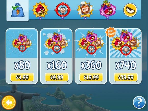 Angry Birds Rio in app purchase