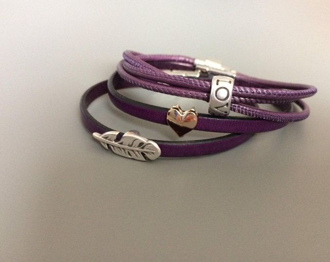 Purple Bohemian Love Leather Bracelet Set - Purple Leather Bracelets for Women - Boho Leather Set Bracelets - Gifts for Friends - Sets
