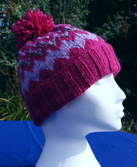 Cosy hand knitted 'zig-zag' bobble ski hat in 'Fuchsia' pink, 'Crocus' lilac and 'Granite Marl' grey. Handknit hat. Knit hat. Wool hat