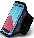 "Stalion Sports Exercise Gym Running Armband Case Universal for ALL Smartphones LG Sony HTC Nokia Huawei ZTE Google Nexus Motorola Blackberry Asus BLU Samsung (4.7-5.5"" Inch Display)(Cyan Blue)"