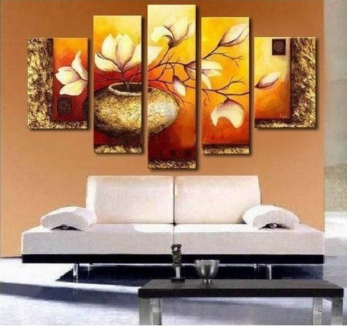 Golden Leaves Abstract Wall Canvas Art Sets Painting for Home Decoration 100% Hand Painted Oil Painting Modern Art Large C... (bestseller)