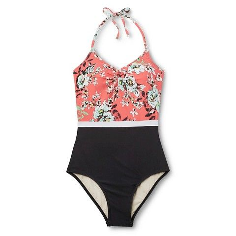 Women's Floral Color Block One Piece Swimsuit - Sea Angel