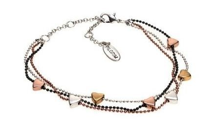 Pilgrim triple strand valentine bracelet. Pilgrim valentine bracelet in a mixture of rose gold, silver and hematite. Bracelet length 16-21cm. All Pilgrim jewellery items are hand-finished, 100% nickel and lead free. Presented in official Pilgrim packaging. Order before 2pm for next day free UK delivery. MPN: 16121-7102 £20 http://www.zoekayjewellery.co.uk/products/872/pilgrim-triple-strand-valentine-bracelet