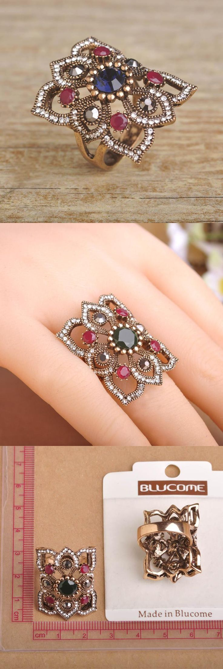 [Visit to Buy] Blucome Luxurious Vintage Square Shaped Ring With Stone Turkish Aneis Exquisite Rings Phalanges For Women Engagement Accessories #Advertisement