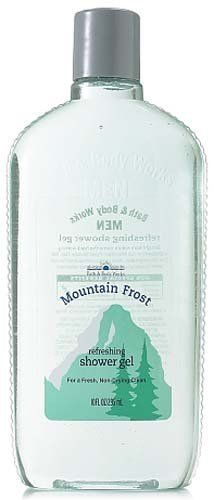 Bath & Body Works Men Mountain Frost Refreshing Shower Gel 10 fl oz (295 ml) by Bath & Body Works. $29.99. Rich Lather Leaves you Feeling Clean and Refreshed. Tea Tree Oil Invigorates while Aloe Vera Soothes. Durable, 10 oz Plastic Bottle with Flip Top Dispenser - Manufacturer Discontinued Item and Scent. Bath and Body Works Men Collection. A Light, Refreshing, Energizing Scent. Bath & Body Works Men Mountain Frost Refreshing Shower Gel 10 fl oz (295 ml)Straig...