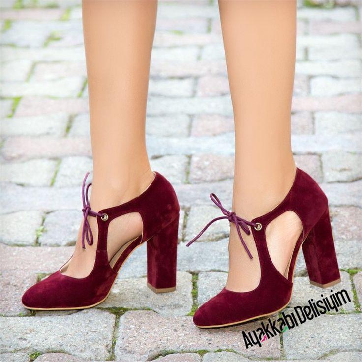 Zizi Süet Bordo Kalın Topuklu Ayakkabı