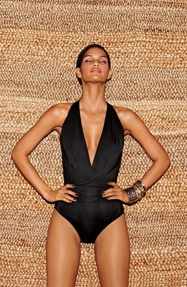 Hot for summer! Love the deep v-neckline on this one-piece swimsuit.