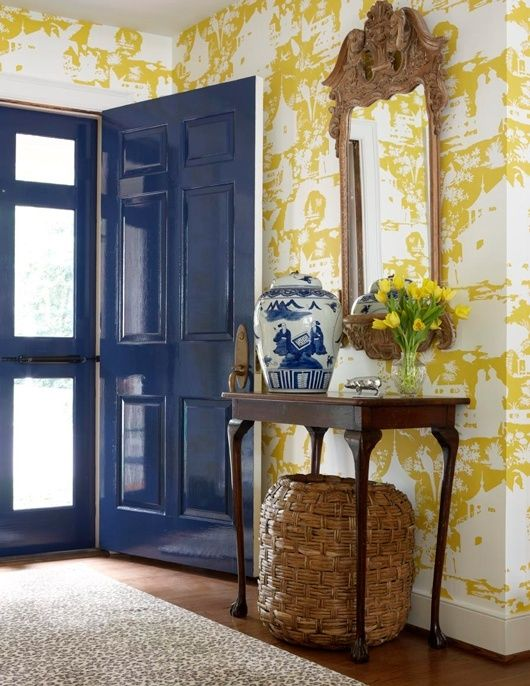 Yellow U0026 Blue Foyer Design With Yellow Chinoiserie Wallpaper, Glossy Blue  Cobalt Blue Door,