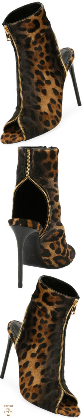 TOM FORD Leopard-Print Zip Peep-Toe Bootie