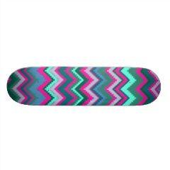 Pretty Aqua Teal Blue Pink Tribal Chevron Zig Zags Skateboard Decks | Skateboards for Girls