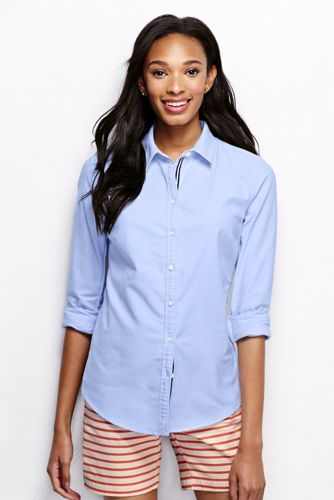 Women's Washed Oxford Shirt with ribbon trim