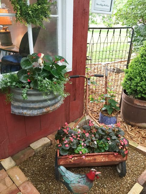 love the window boxes -Summer Sundays: Linda's wonderful garden in LaRussell, MO.....