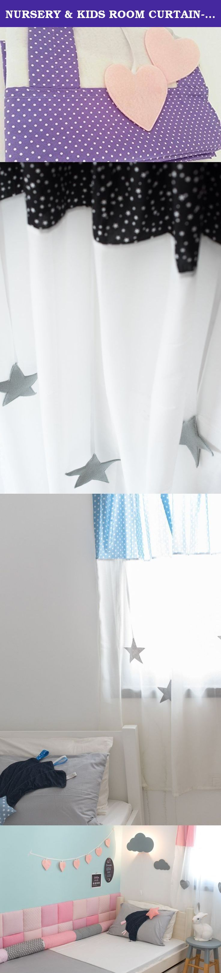 NURSERY & KIDS ROOM CURTAIN-Purple & white dots-decorative high quality tab top curtain kids curtain. These designed curtains are perfect for a nursery, boy's room, girl's room or a playroom. This curtain design is a combination of printed cotton fabric in the upper part, and a white semi-transparent fabric in the lower part. Decorated with 6 hanging stars / hearts. Adds a lot of color to your children's room. The curtain does not block the light entry, the semi-transparent fabric breaks…